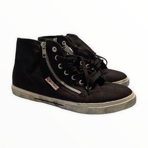 Superga Cotu High Top Sneakers Black White Zippers